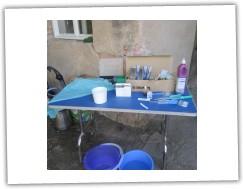 Operační stůl v terénních podmínkách